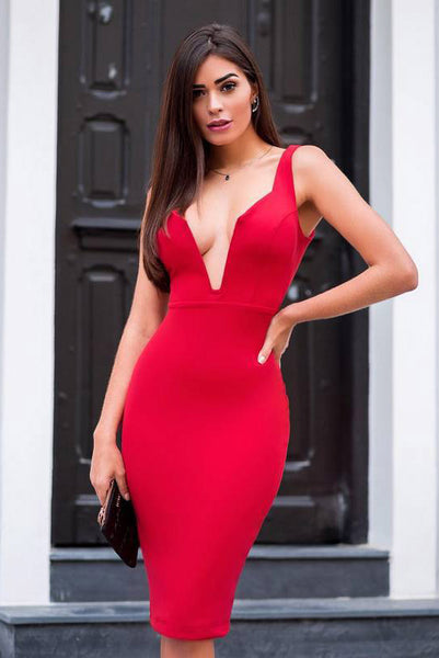 Red Deep V-neck Bandage Party Dress