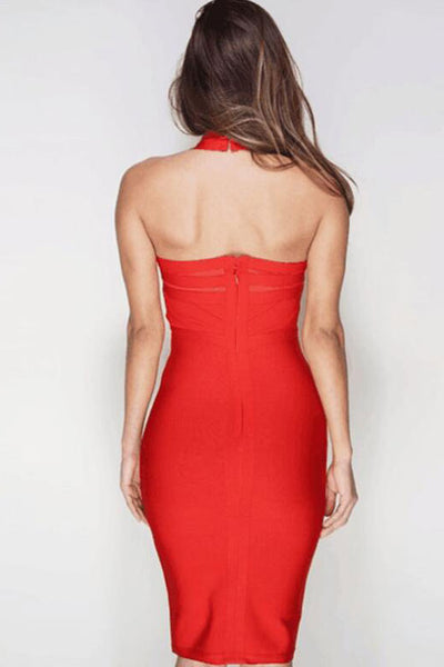 Red Halter Knee Length Bandage Club Dress