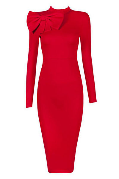 Red High Neck Bandage Dress With Long Sleeves