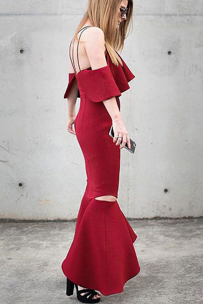 Red Off-the-shoulder Mermaid Cut Out Prom Dress