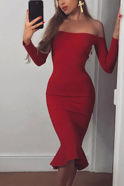 Red Off-the-shoulder Mermaid Prom Bandage Dress With Long Sleeves
