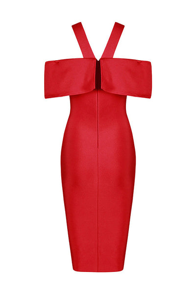 Red Off-the-shoulder Sexy Bandage Dress