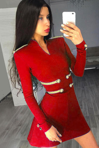Red Sexy Bandage Bodycon Cocktail Dress With Long Sleeves