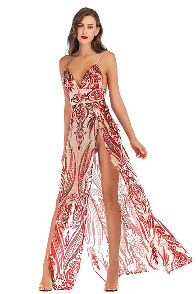 Red Sexy V Neck Sequined Thigh-high Slit Backless Prom Dress