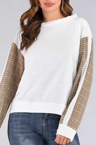 Check Patched Scoop Sweatshirt