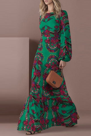 Green Scoop Floral Long Sleeve Dress