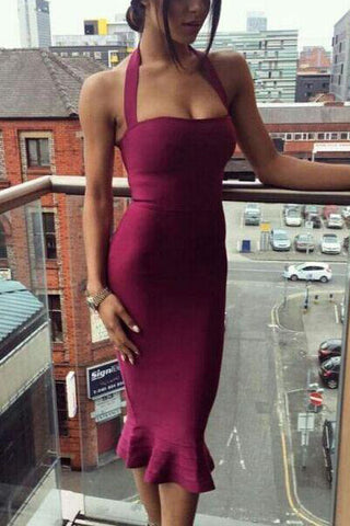 Sexy Halter Tea Length Bandage Dress For Party