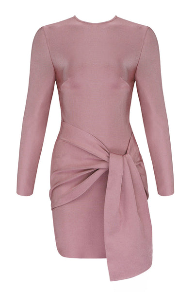 Sexy Pink Bodycon Prom Dress With Long Sleeves