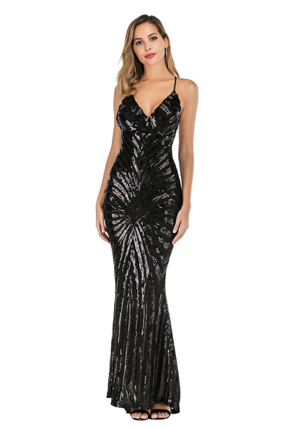Sexy V-neck Sequined Crisscross Mermaid Bodycon Dress