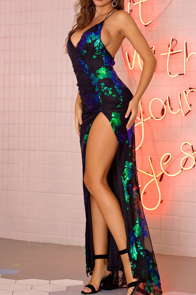 Sexy Backless Split Thigh Sequins Long Dress