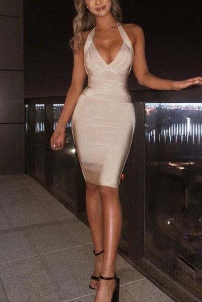 Sexy Halter Plunge V-neck Bandage Dress