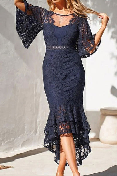 Sexy High Low Mermaid Lace Cocktail Dress