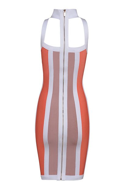 Sexy Colored Vertical Cut Out Mini Bandage Dress