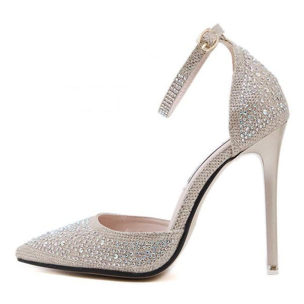 Sparkly Silver Drilled Toe Stiletto Heels