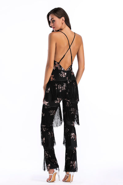 Sexy Deep V-neck Crisscross Sequined Tasseled Backless Jumpsuit