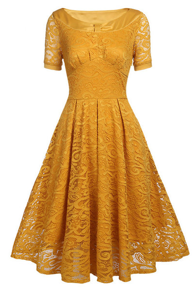Kurzarm A-Line Lace Party Homecoming Kleid