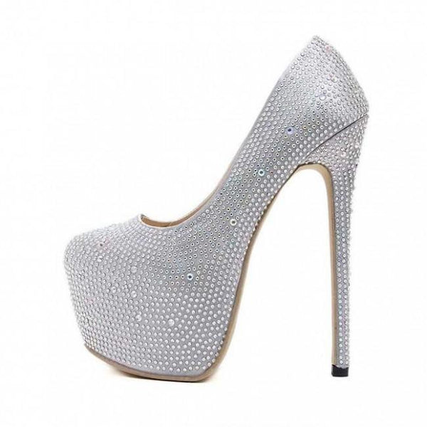 Silver Closed-toe Stiletto Sparkly Prom Heels