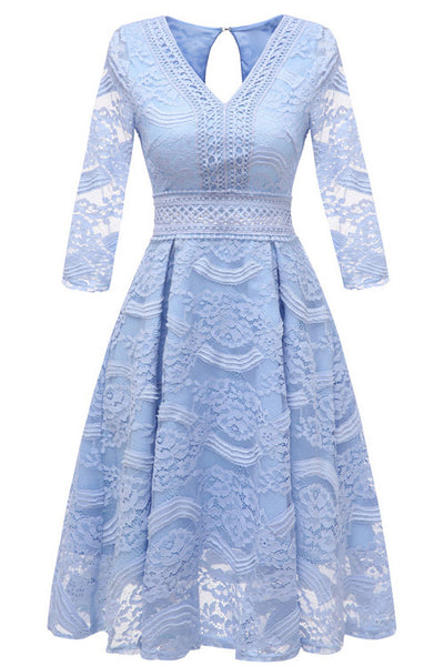 Sky Blue Lace A-line Prom Dress With Long Sleeves