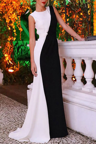 Elegant Two-tone Sleeveless Prom Dress