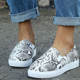 Snakeskin Print Decor Textured Flats