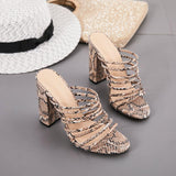 Snakeskin Print Strappy Chunky Heel Sandals