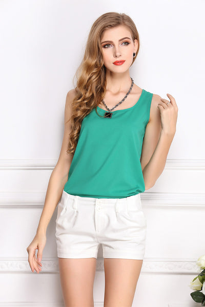 Solid Green Fluorescent Chiffon Tank Top