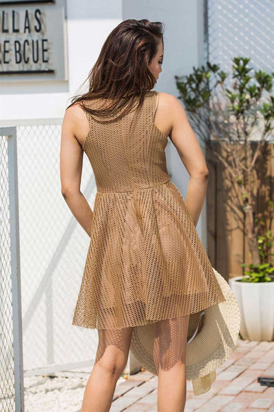Solid Mesh Hollowed High Waist Sleeveless Casual Dress