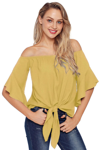 Solid Off-the-shoulder Knot Front Blouse