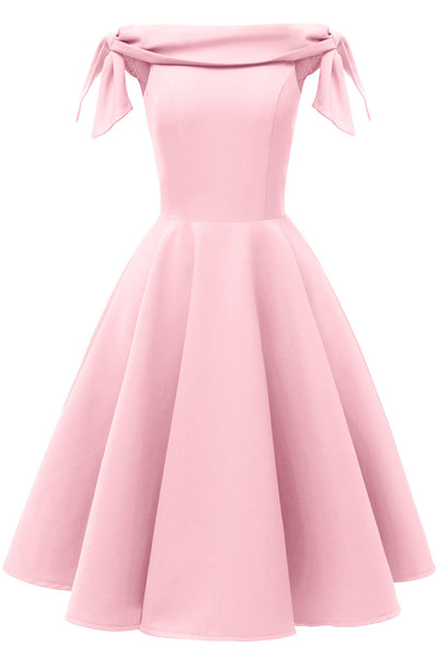 Solid Off-the-shoulder Knotted Prom Dress