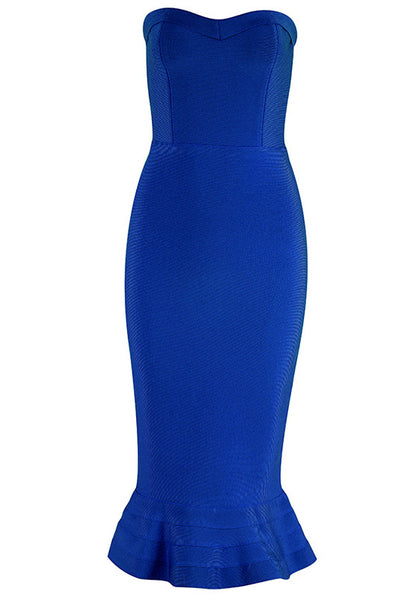 Solid Strapless Mermaid Bodycon Dress