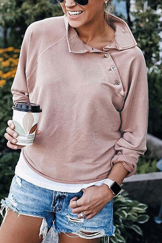 Casual Buttoned Turtleneck Sweatshirt