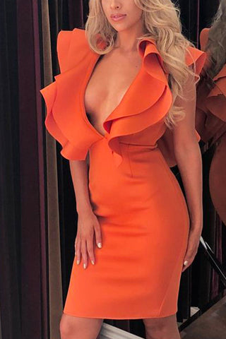 Double V-neck Ruffle Trim Bandage Dress