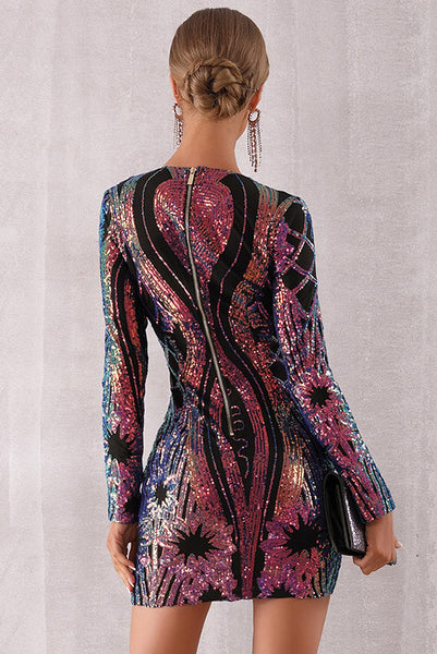 Sparkly Sequins Long Sleeve Party Dress