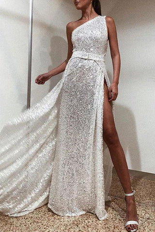 Sparkly Sexy One Shoulder Slit Prom Dress