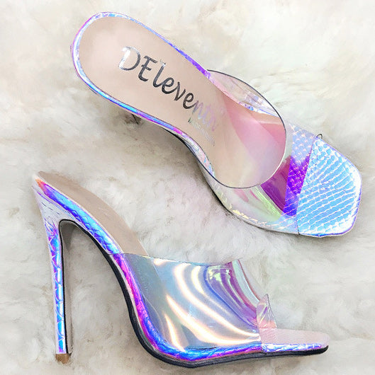 Square Head Platform Laser Stiletto Heel Sandals