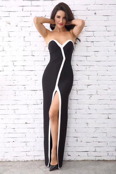 Strapless Thigh-high Slit Black Sheath Bandage Dress - Mislish