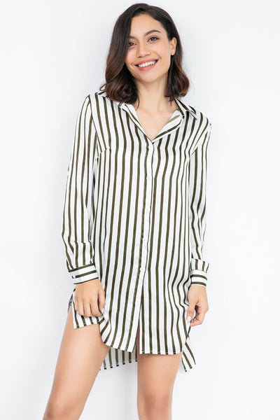 Striped Asymmetrical Hem Single Breasted  Blouse