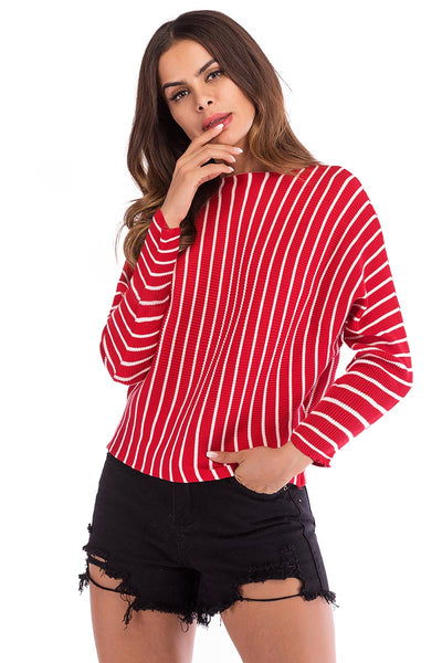 Striped Long Sleeve Baggy Knit Blouse