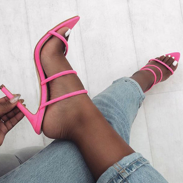 Suede Pointed Toe Stiletto Heels Sandals