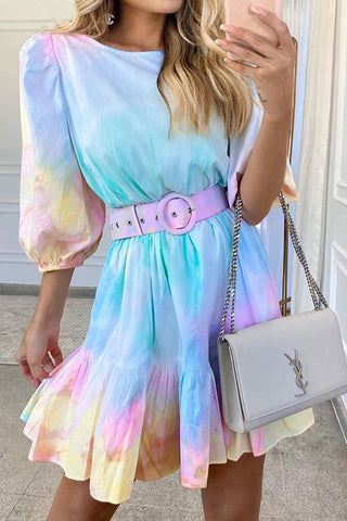 Tie-dye Ruffled Vacation Dress