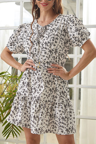Tie Neck Ditsy Floral Dress