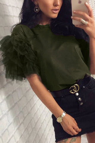 Trendy Tulle Patchwork Scoop T-shirt