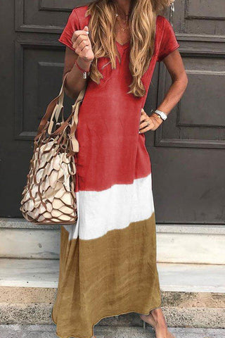 produkte / Tri-coloured_V-neck_Maxi_Dress_With_Short_Sleeves_2.jpg
