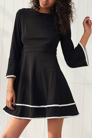 Flared Sleeves Fitted A-line Mini Dress
