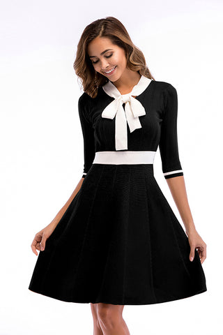 Bowknot Front Fit And Flare Knit Dress