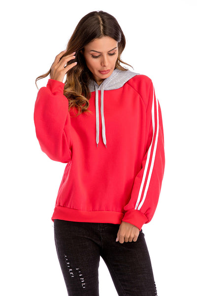 Two Tone Varsity Striped Drawstring Sweatshirt