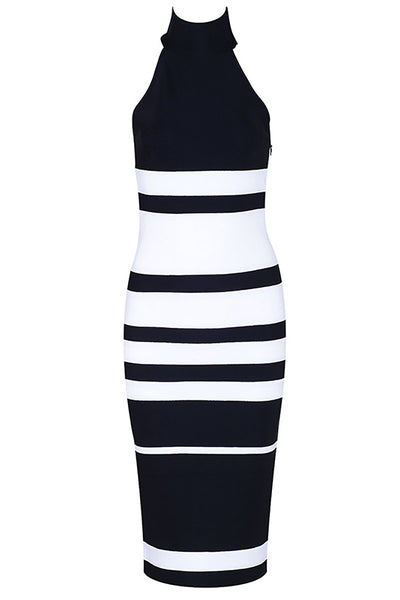 Two Tones High Neck Sleeveless Bandage Dress