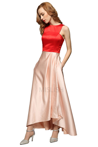 Two Tones Sleeveless Party Dress With Pockets
