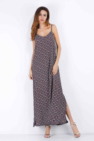 Floral V Neck Backless Slit Maxi Chiffon Dress