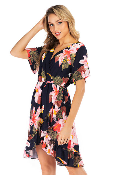 V Neck Floral Print Ruffle Hem Dress